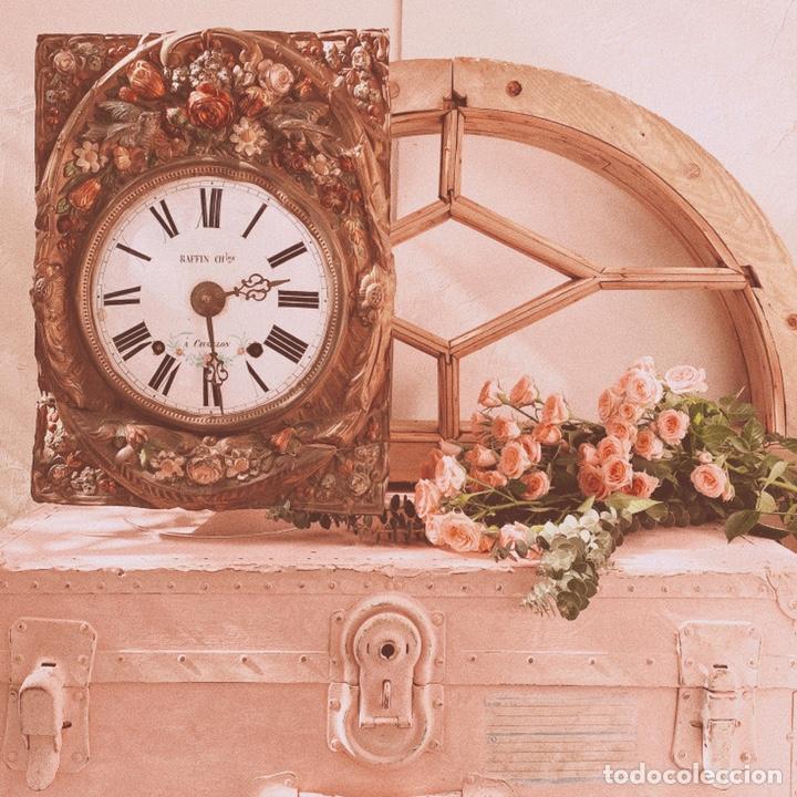Relojes de pared: INCREÍBLE RELOJ FLORAL POLICROMADO FRANCÉS ANTIQUE UNIQUE - Foto 3 - 162953294