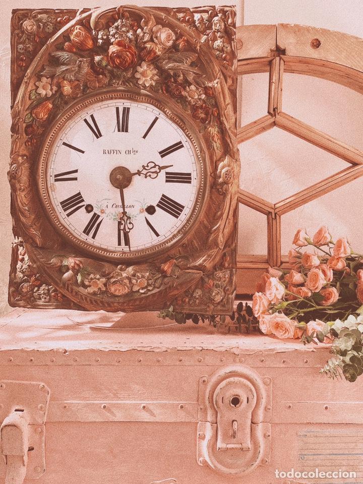 Relojes de pared: INCREÍBLE RELOJ FLORAL POLICROMADO FRANCÉS ANTIQUE UNIQUE - Foto 4 - 162953294