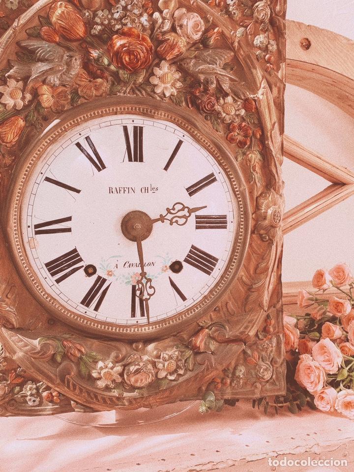 Relojes de pared: INCREÍBLE RELOJ FLORAL POLICROMADO FRANCÉS ANTIQUE UNIQUE - Foto 5 - 162953294