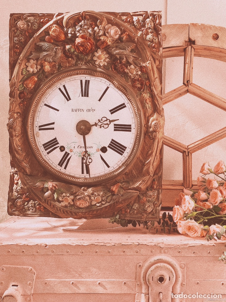 Relojes de pared: INCREÍBLE RELOJ FLORAL POLICROMADO FRANCÉS ANTIQUE UNIQUE - Foto 6 - 162953294