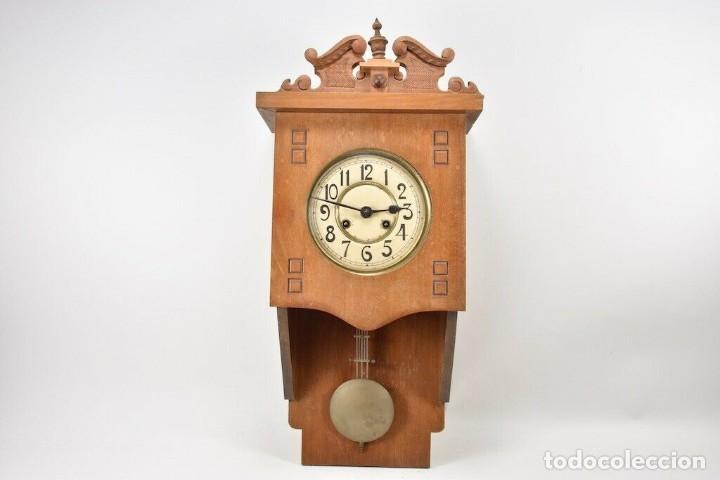MARAVILLOSOI Y ANTIGUO RARO RELOJ PARED SALÓN AÑO 1900 SONERIA PERFECTO MEDIDAS 63X32X16 CM 530,00 € (Relojes - Pared Carga Manual)