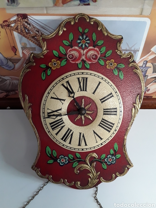 Relojes de pared: Reloj de pared en madera pintada a mano de principios de el siglo xx - Foto 2 - 203414123