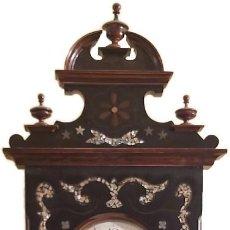 Relojes de pared: RELOJ PARED ANTIGUO MOREZ MARQUETERIA NACAR IMPECABLE. Lote 204001692