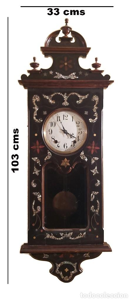 Relojes de pared: RELOJ PARED ANTIGUO MOREZ MARQUETERIA NACAR IMPECABLE - Foto 2 - 204001692