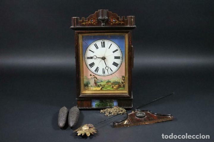 ANTIQUISIMO RELOJ RATERA- SELVA NEGRA- PASTORA CON CABRAS- ALEMANIA AÑO 1860-70- FUNCIONAL-LOTE 265 (Relojes - Pared Carga Manual)