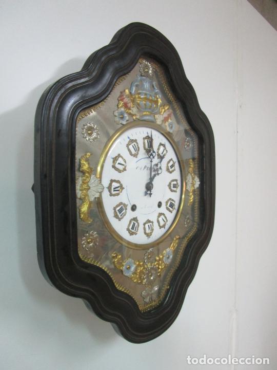 Relojes de pared: Bonito Reloj de Pared - Ojo de buey - Napoleón III, Francia - Completo - Funciona - S. XIX - Foto 2 - 205139417