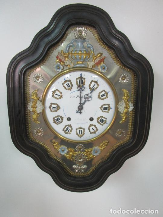Relojes de pared: Bonito Reloj de Pared - Ojo de buey - Napoleón III, Francia - Completo - Funciona - S. XIX - Foto 4 - 205139417