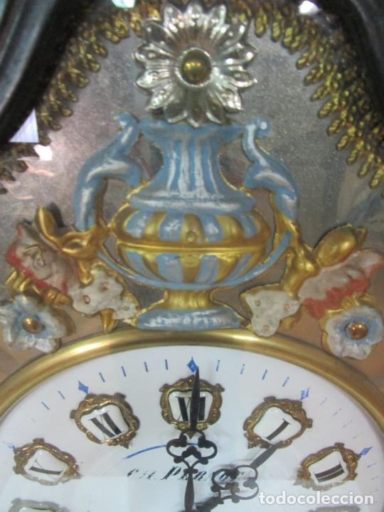Relojes de pared: Bonito Reloj de Pared - Ojo de buey - Napoleón III, Francia - Completo - Funciona - S. XIX - Foto 5 - 205139417