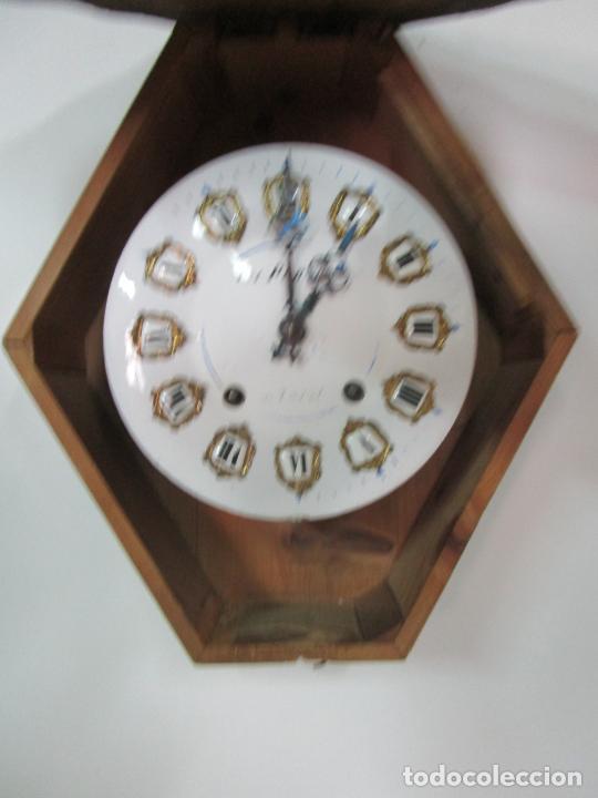 Relojes de pared: Bonito Reloj de Pared - Ojo de buey - Napoleón III, Francia - Completo - Funciona - S. XIX - Foto 8 - 205139417