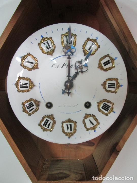 Relojes de pared: Bonito Reloj de Pared - Ojo de buey - Napoleón III, Francia - Completo - Funciona - S. XIX - Foto 10 - 205139417