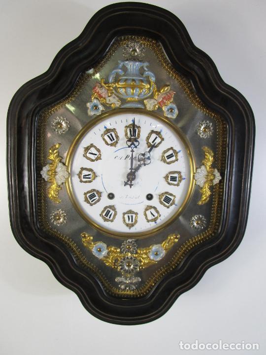 Relojes de pared: Bonito Reloj de Pared - Ojo de buey - Napoleón III, Francia - Completo - Funciona - S. XIX - Foto 18 - 205139417