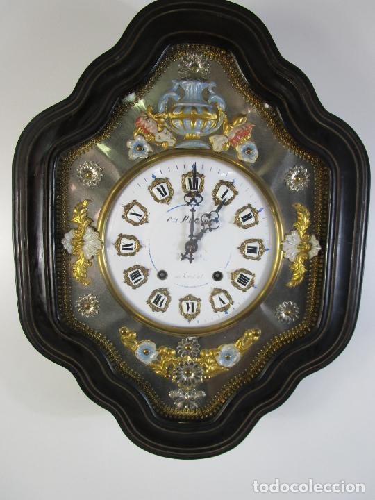 BONITO RELOJ DE PARED - OJO DE BUEY - NAPOLEÓN III, FRANCIA - COMPLETO - FUNCIONA - S. XIX (Relojes - Pared Carga Manual)