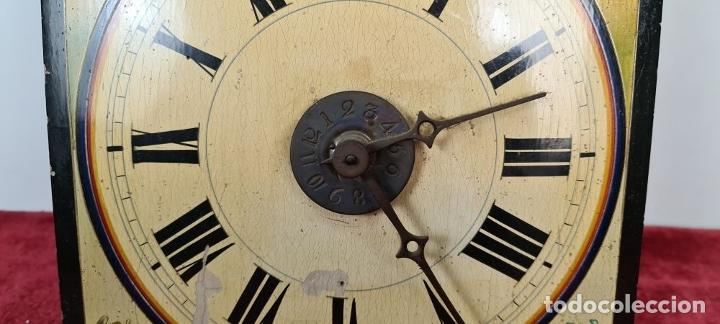 Relojes de pared: RELOJ DE PARED. RATERA. FRONTAL DE MADERA POLICROMADA. SELVA NEGRA. SIGLO XIX. - Foto 3 - 208670113