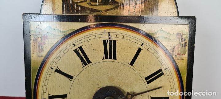 Relojes de pared: RELOJ DE PARED. RATERA. FRONTAL DE MADERA POLICROMADA. SELVA NEGRA. SIGLO XIX. - Foto 5 - 208670113