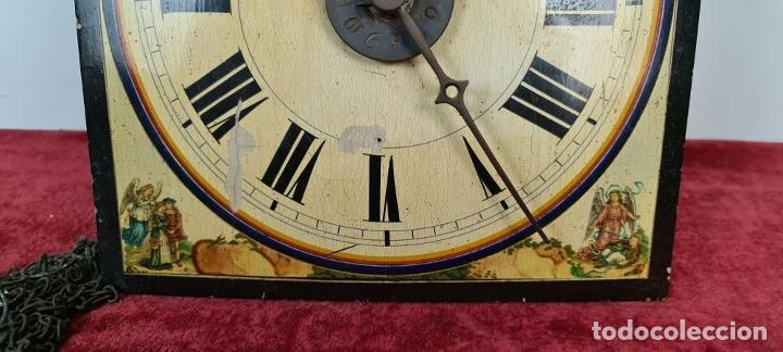 Relojes de pared: RELOJ DE PARED. RATERA. FRONTAL DE MADERA POLICROMADA. SELVA NEGRA. SIGLO XIX. - Foto 7 - 208670113