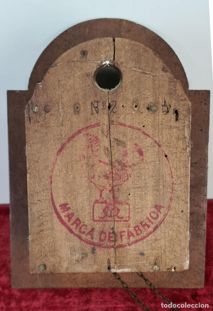 Relojes de pared: RELOJ DE PARED. RATERA. FRONTAL DE MADERA POLICROMADA. SELVA NEGRA. SIGLO XIX. - Foto 8 - 208670113