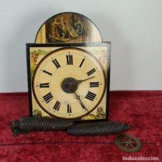 Relojes de pared: RELOJ DE PARED. RATERA. FRONTAL DE MADERA POLICROMADA. SELVA NEGRA. SIGLO XIX.. Lote 208670113