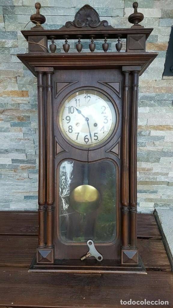 ¡¡GRAN OFERTA!!!MAGNIFICO RELOJ HENRI II JUNGHANS- NOGAL- AÑO 1910- FUNCIONA PERFECTAMENTE (Relojes - Pared Carga Manual)