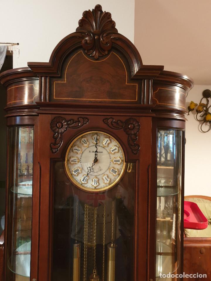 Relojes de pared: MAGNIFICO RELOJ DE PIE PENDULO CON VITRINA - Foto 8 - 209630055