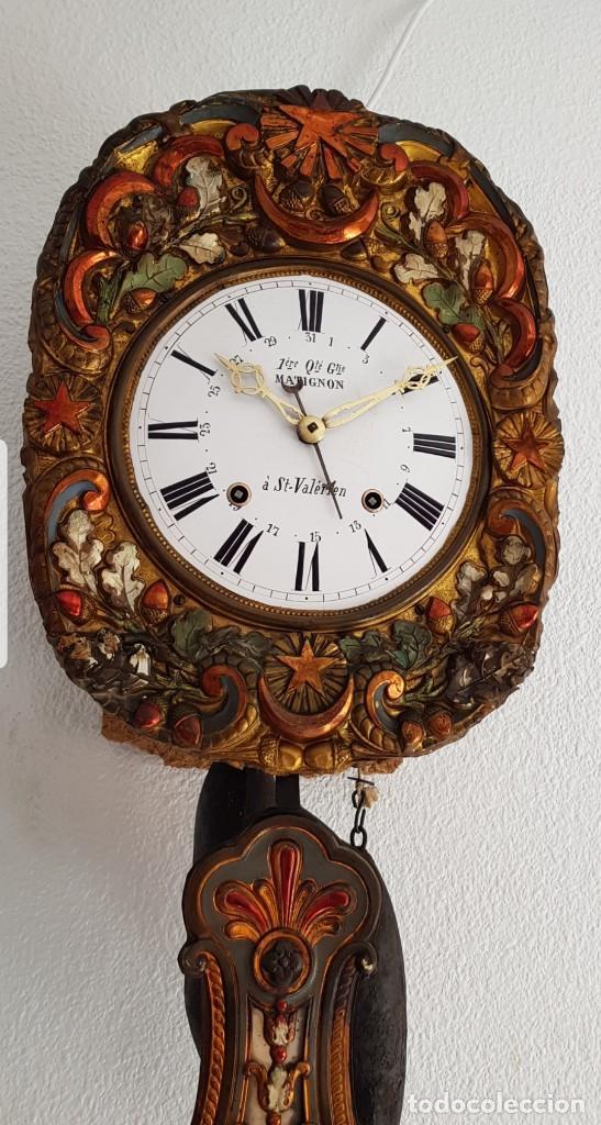 RELOJ MOREZ ANTIGUO DE CAMPANA PÉNDULO REAL MODELO RARÍSIMO CON CALENDARIO FUNCIONA ALTA COLECCIÓN (Relojes - Pared Carga Manual)