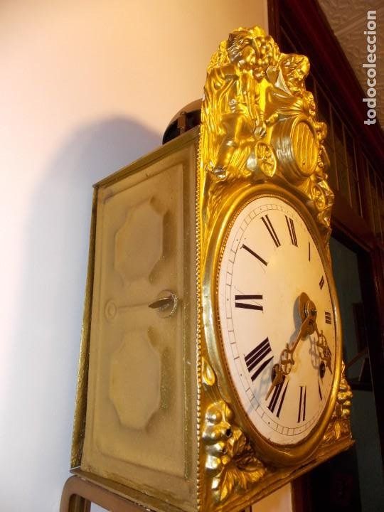 Relojes de pared: ANTIGUO RELOJ MOREZ FRANCES DE CHAPA - MOTIVO VENDIMIA - Foto 5 - 210564856