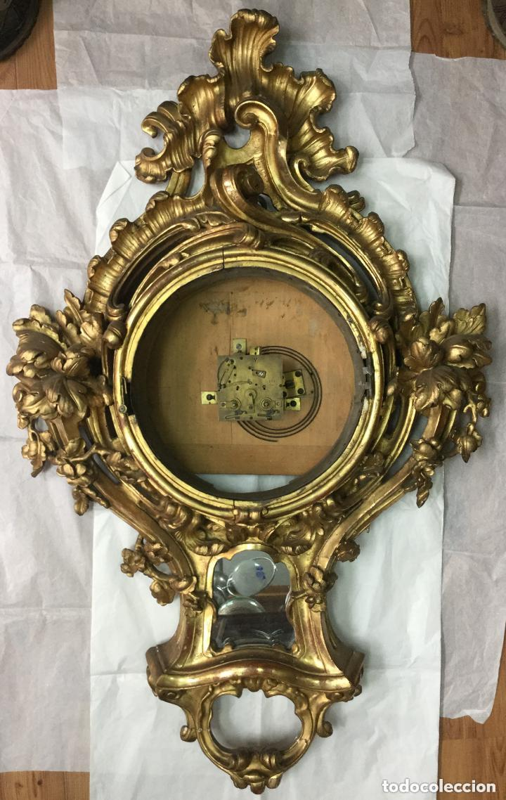 IMPRESIONANTE RELOJ CARTEL LOUIS XV,CARTEL CLOCK, LOUIS XV-EN MADERA DORADA ,SIGLO XVIII-115X75CM (Relojes - Pared Carga Manual)