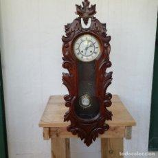 Relojes de pared: ANTIGUO RELOJ DE PARED FINALES DEL 1800 S.XIX / MÁQUINA ALEMANA CON 8 DÍAS DE CUERDA / FUNCIONA. Lote 217664351