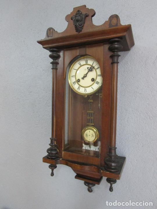 ANTIGUO RELOJ DE PARED - MARCA JUNGHANS - FUNCIONA - COMPLETO - CIRCA 1900 (Relojes - Pared Carga Manual)
