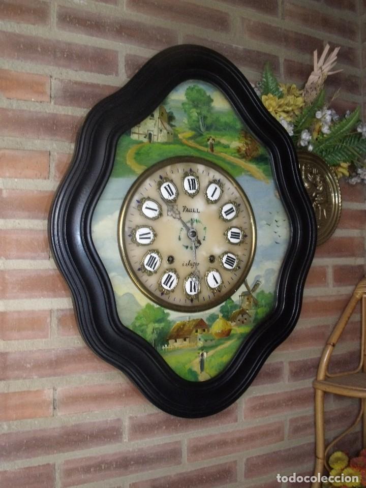ANTIGUO OJO BUEY MOREZ-PINTADO AL ÓLEO- ESFERA ALABASTRO- AÑO 1880- LOTE 313 (Relojes - Pared Carga Manual)