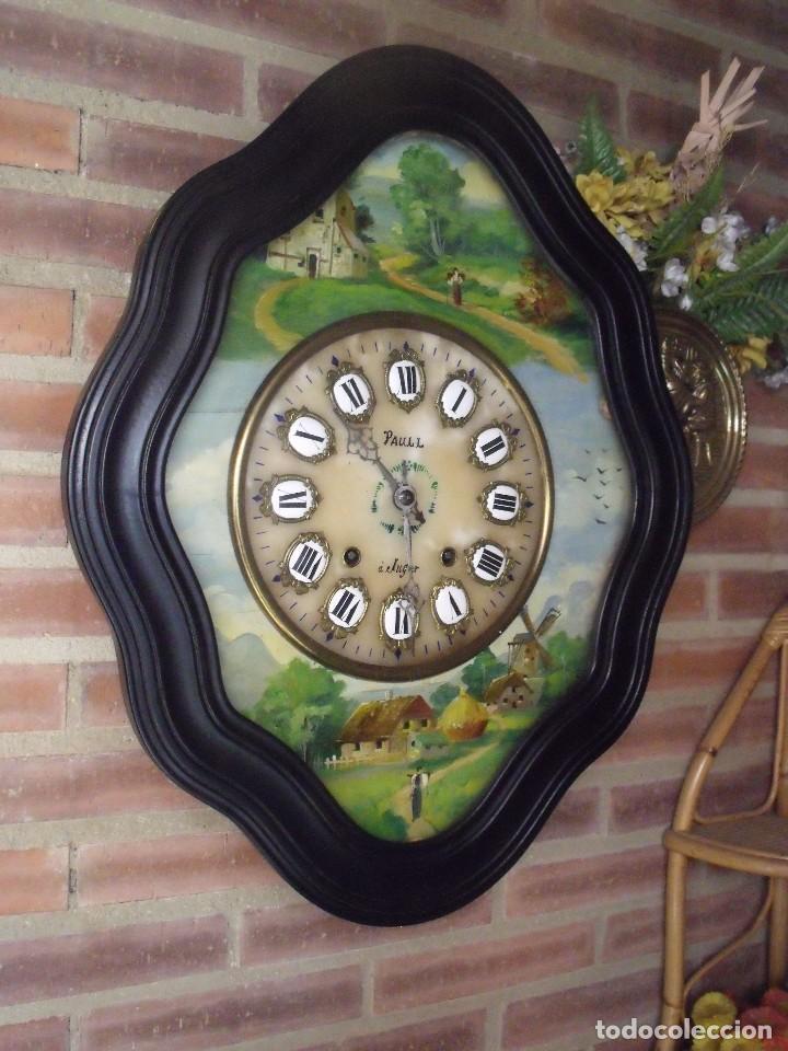 Relojes de pared: ANTIGUO OJO BUEY MOREZ-PINTADO AL ÓLEO- ESFERA ALABASTRO- AÑO 1880- LOTE 313 - Foto 2 - 221159358