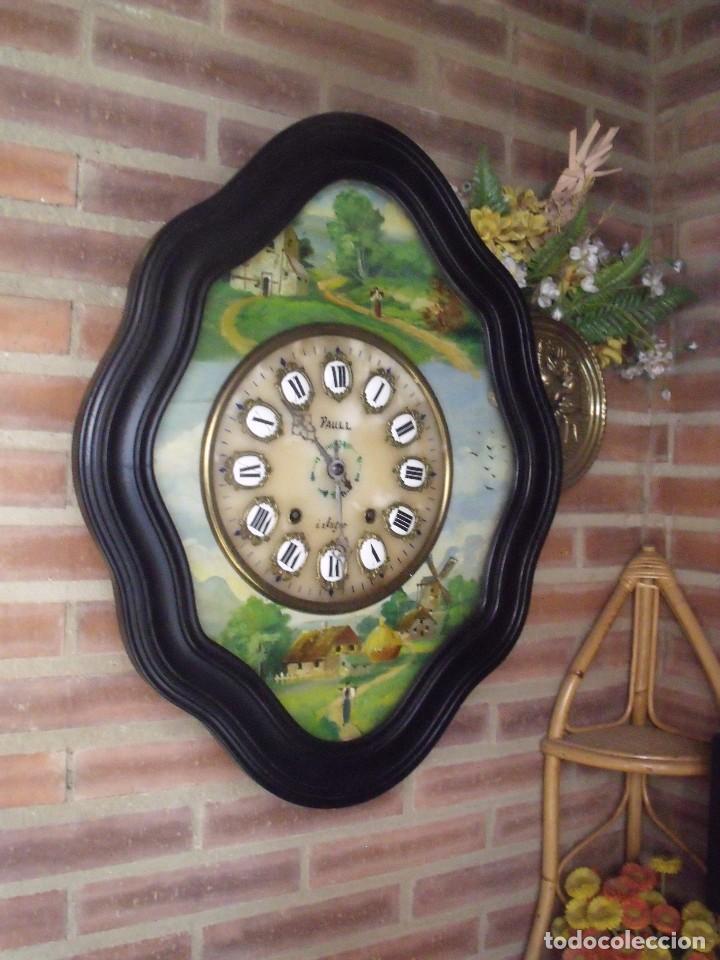 Relojes de pared: ANTIGUO OJO BUEY MOREZ-PINTADO AL ÓLEO- ESFERA ALABASTRO- AÑO 1880- LOTE 313 - Foto 3 - 221159358