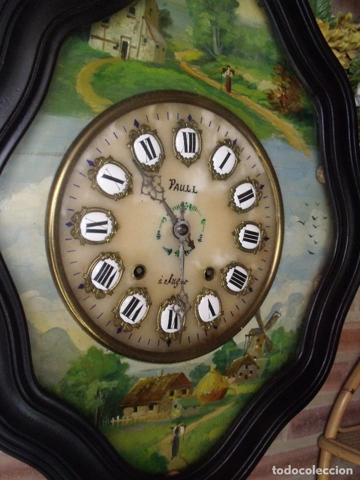 Relojes de pared: ANTIGUO OJO BUEY MOREZ-PINTADO AL ÓLEO- ESFERA ALABASTRO- AÑO 1880- LOTE 313 - Foto 4 - 221159358