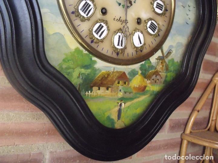 Relojes de pared: ANTIGUO OJO BUEY MOREZ-PINTADO AL ÓLEO- ESFERA ALABASTRO- AÑO 1880- LOTE 313 - Foto 5 - 221159358