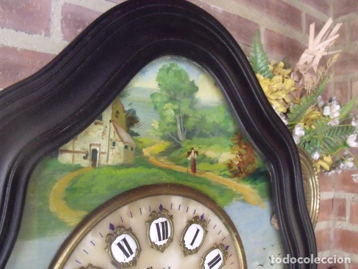 Relojes de pared: ANTIGUO OJO BUEY MOREZ-PINTADO AL ÓLEO- ESFERA ALABASTRO- AÑO 1880- LOTE 313 - Foto 6 - 221159358