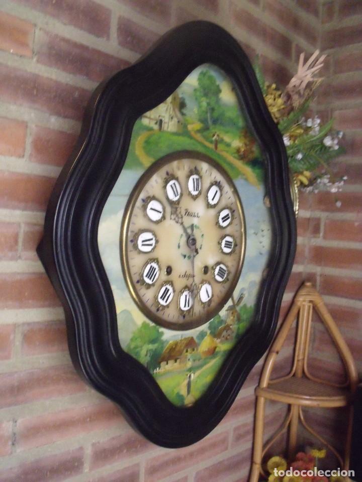 Relojes de pared: ANTIGUO OJO BUEY MOREZ-PINTADO AL ÓLEO- ESFERA ALABASTRO- AÑO 1880- LOTE 313 - Foto 7 - 221159358