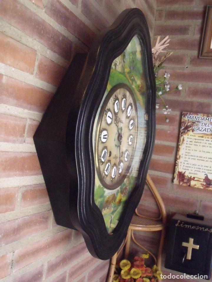 Relojes de pared: ANTIGUO OJO BUEY MOREZ-PINTADO AL ÓLEO- ESFERA ALABASTRO- AÑO 1880- LOTE 313 - Foto 8 - 221159358
