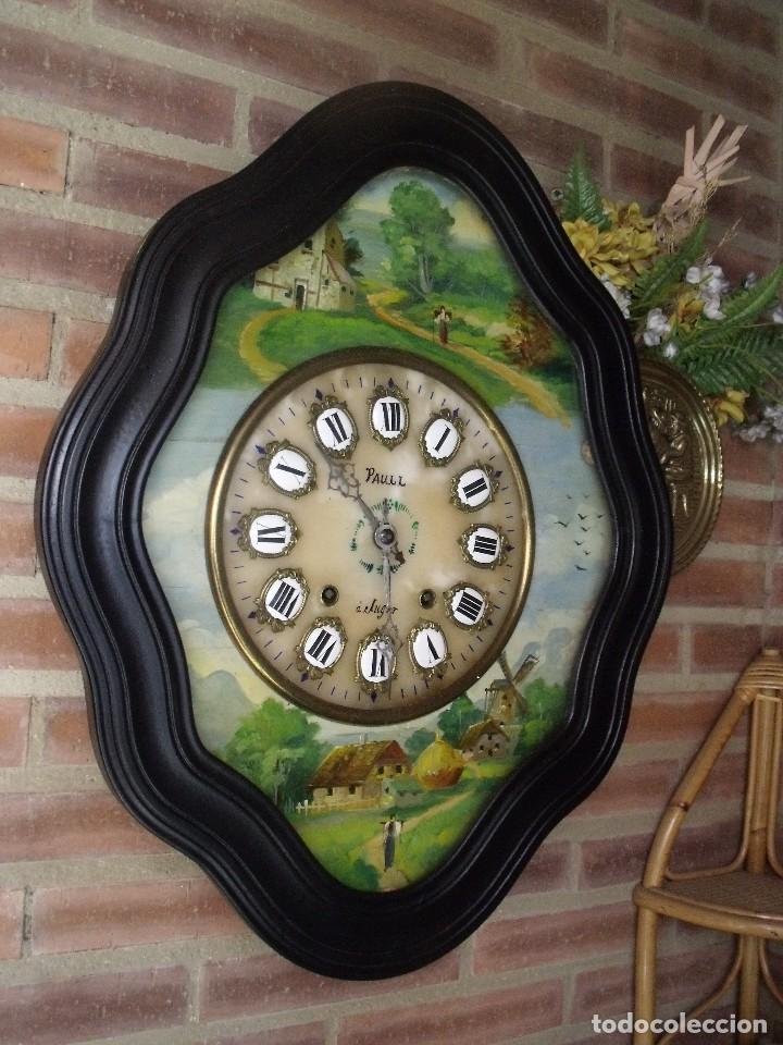 Relojes de pared: ANTIGUO OJO BUEY MOREZ-PINTADO AL ÓLEO- ESFERA ALABASTRO- AÑO 1880- LOTE 313 - Foto 9 - 221159358