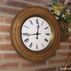 Relojes de pared: ANTIGUO RELOJ DE ESCUELA- ESFERA EN PORCELANA- AÑO 1880- LOTE 311-BUEN FUNCIONAMIENTO. Lote 221597928