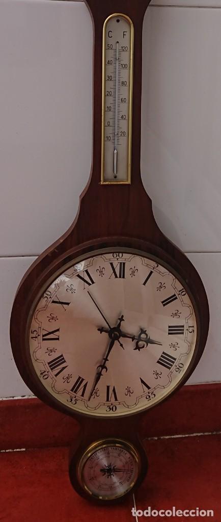 RELOJ BARÓMETRO Y TERMÓMETRO FUNCIONANDO (Relojes - Pared Carga Manual)