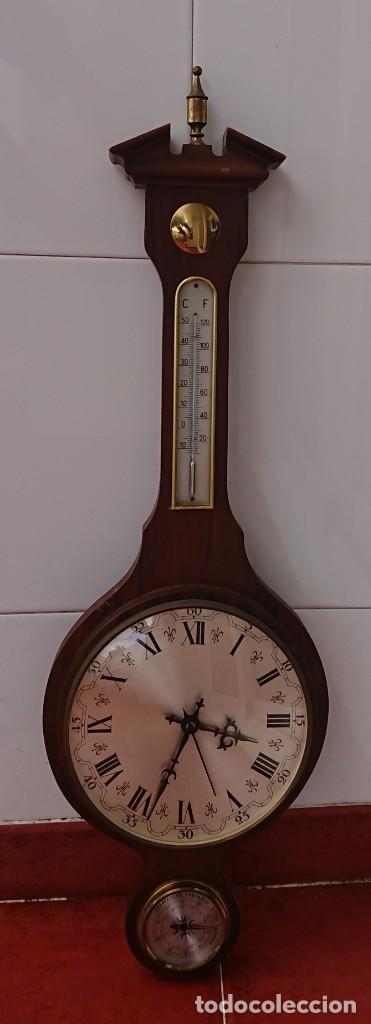 Relojes de pared: RELOJ BARÓMETRO Y TERMÓMETRO FUNCIONANDO - Foto 3 - 221924295