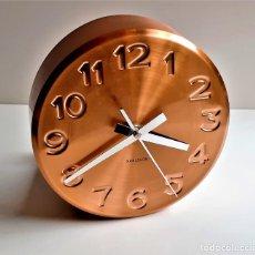 Relojes de pared: BONITO RELOJ PARED LATON COBRE - 19.CM DIAMETRO X 6.CM GROSOR. Lote 221974562