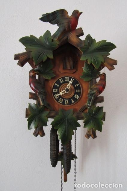 RELOJ ANTIGUO DE PARED ALEMÁN CUCU CUCO PÉNDULO FUNCIONA CON PESAS FABRICADO EN SELVA NEGRA ALEMANA (Relojes - Pared Carga Manual)