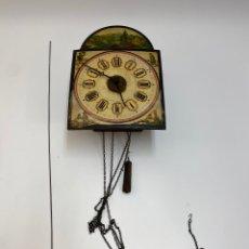 Relojes de pared: RELOJ DE PARED RATERA EN MADERA, PINTADO A MANO. S.XIX.. Lote 222563125