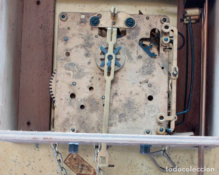 Relojes de pared: Reloj vintage de pared Alemán Schatz de pesas, antiguo stock! Ver fotos. - Foto 7 - 234909230