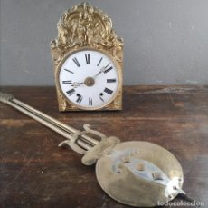 Relojes de pared: ANTIGUO RELOJ DE PARED MORBIER ESFERA ESMALTADA CON DECORACIONES EN LATON REPUJADO FRANCIA S XIX. Lote 236077745