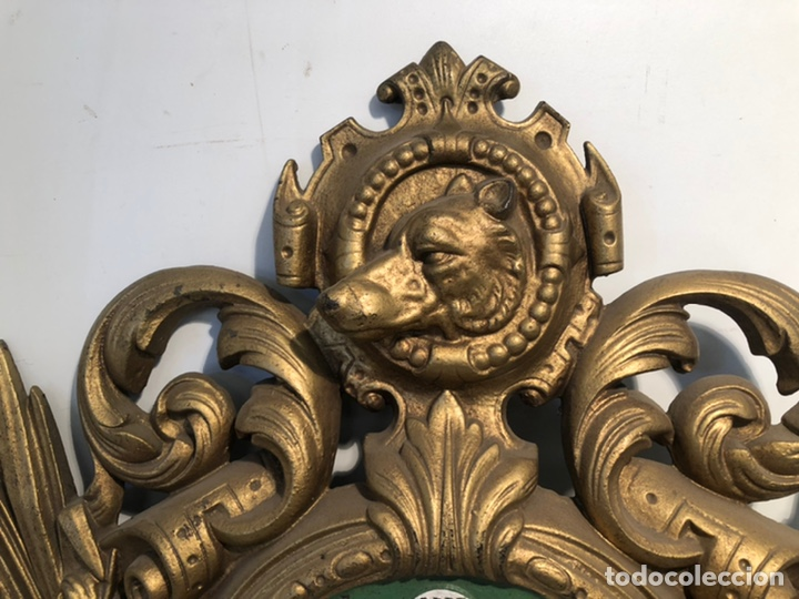 Relojes de pared: PRECIOSO FRONTAL DE RELOJ DE HIERRO COLADO CON MOTIVOS DE CAZA Y PESCA ANTIGUO. - Foto 2 - 238552705