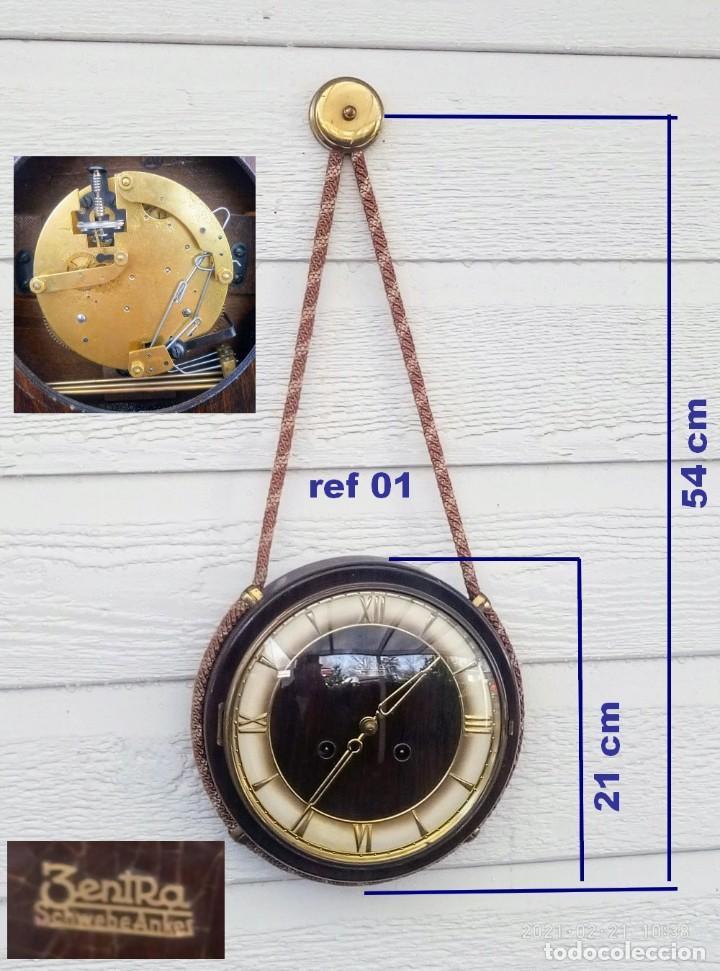 RELOJ DE PARED VINTAGE, ZENTRA, DE CORDÓN CON GONG, REF 01 (Relojes - Pared Carga Manual)