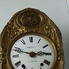 Relojes de pared: ANTIGUA MAQUINARIA MOREZ DE PESAS- ADORNOS FLORALES BUEN ESTADO- FUNCIONAL- AÑO 1880-. Lote 248202710