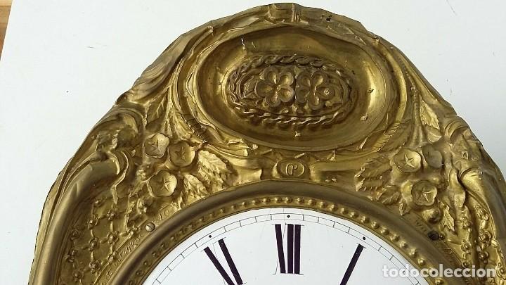 Relojes de pared: ANTIGUA MAQUINARIA MOREZ DE PESAS- ADORNOS FLORALES BUEN ESTADO- FUNCIONAL- AÑO 1880- - Foto 3 - 248202710