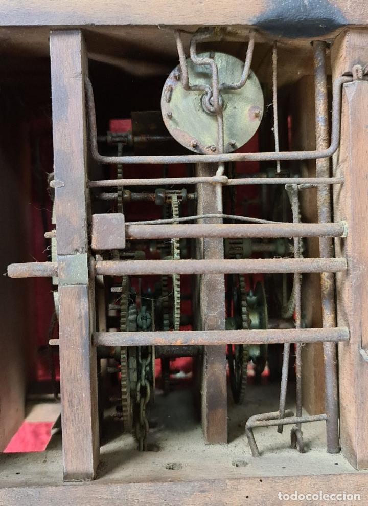Relojes de pared: RELOJ DE PARED. RATERA. FRONTAL DE MADERA. SELVA NEGRA. ALEMANIA. SIGLO XIX. - Foto 11 - 251807440